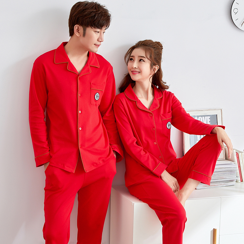 JCVANKER New Spring Couples Pajamas Set For Women Man Red Color Turn-down Collar Button Coat Pants Quality Female Male Homewear