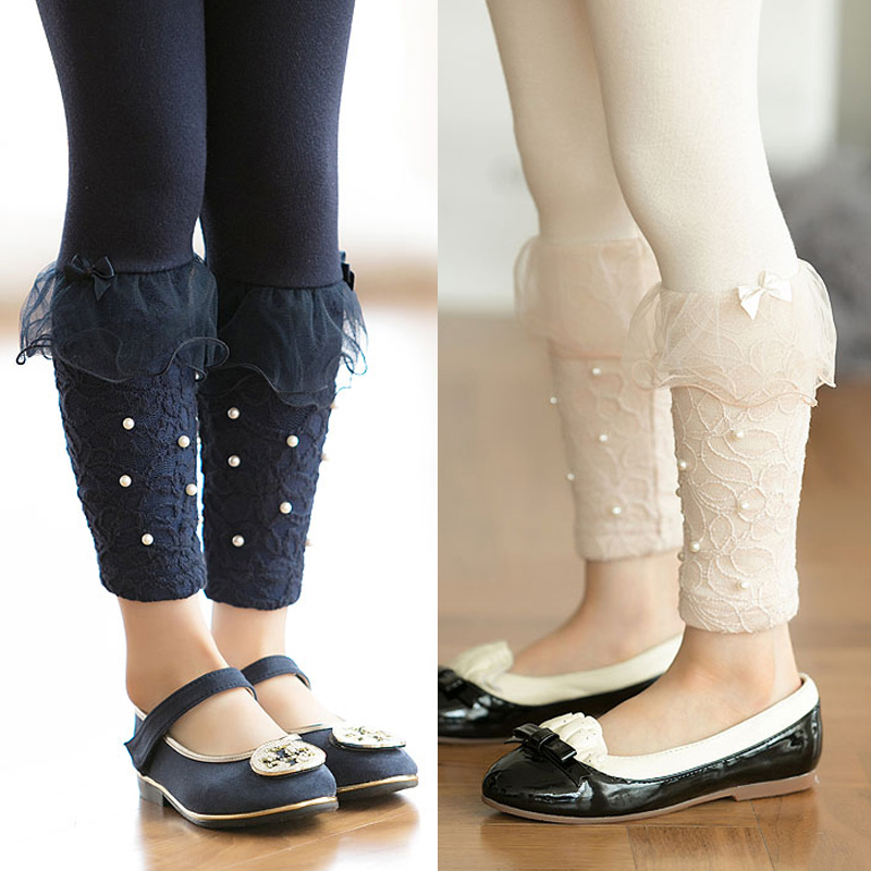 2018 Spring Autumn 2-10 Year Children White Dark Blue Beige Long   Capri     Pants   Pears Bow Lace Little Baby Kids Girl Basic Leggings