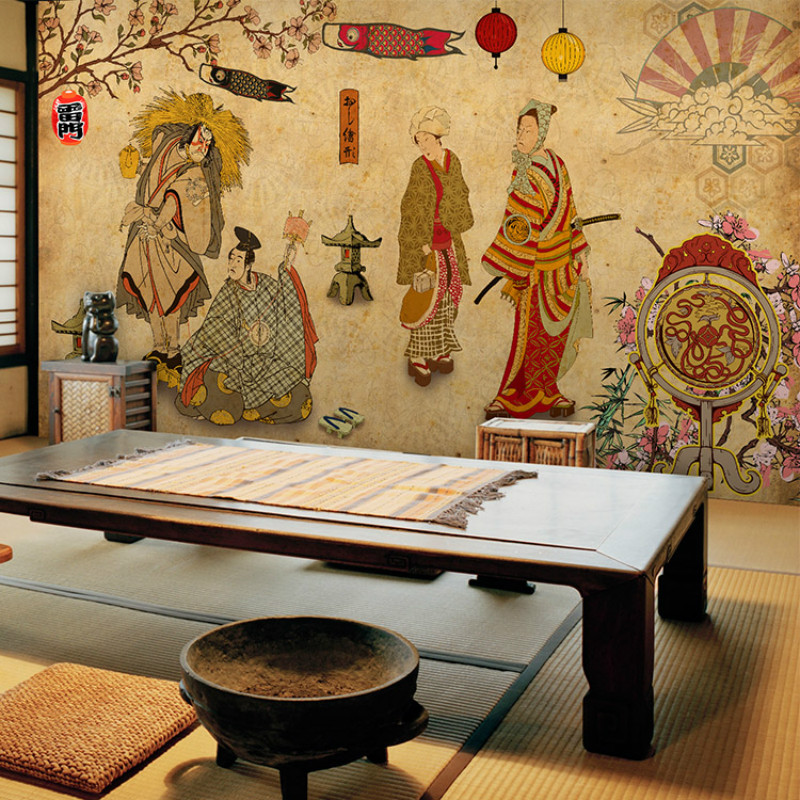 Custom vintage Japanese Ukiyo-e Ladies 3D wallpaper for wall 3d murals wallpaper Sushi Cuisine Restaurant Hotel Barbecue
