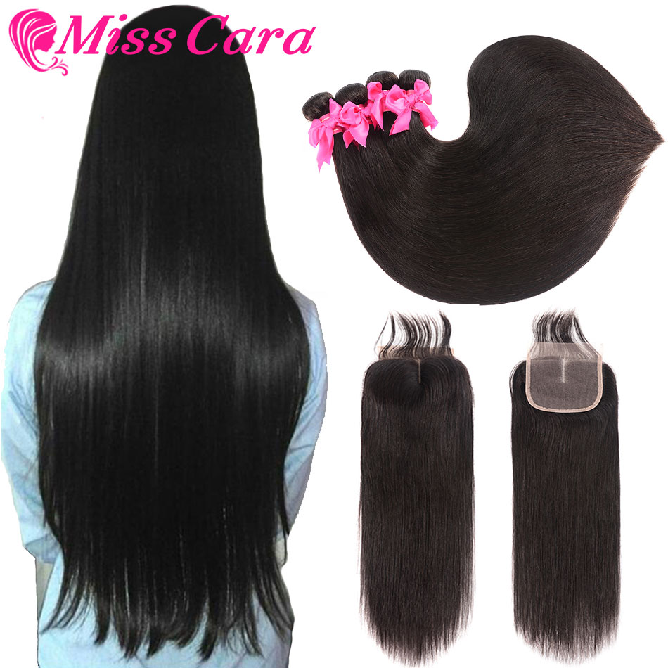 Peruvian Straight Hair 3 4 Bundles With Closure 100 Human Hair Bundles With Closure Miss Cara