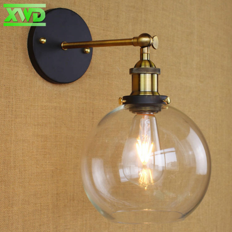 Loft Vintage Industrial Edison Wall Lamps Clear Glass Warehouse Wall Light Fixtures E27 110V 220V Bedside
