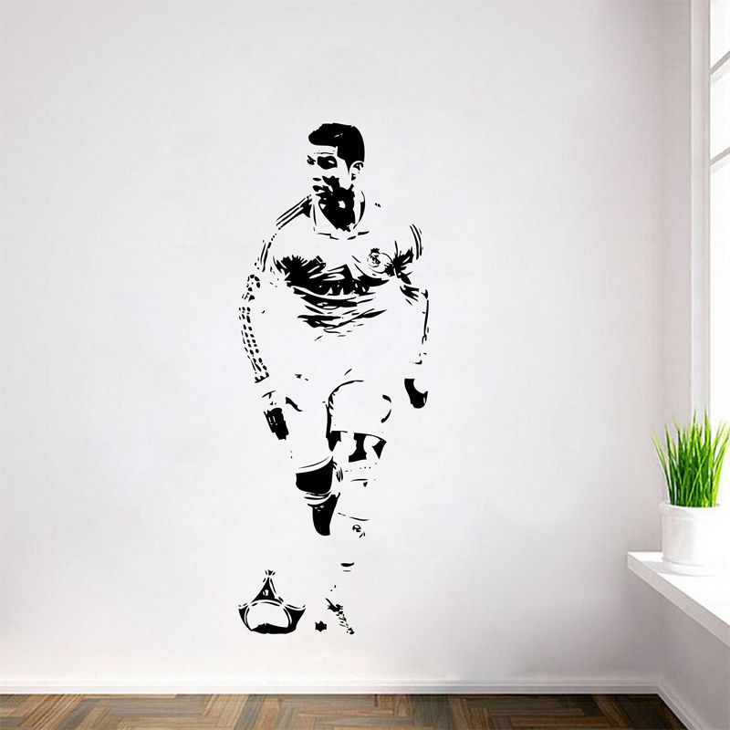 Անվճար առաքում CRISTIANO RONALDO Wall Decal Sticker CR7 Footballer Soccer Wall պատերի դեկոր