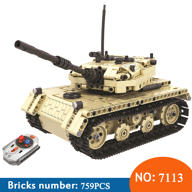 Winner 7113 759pcs Technic Military Remote Control RC Tank Electric Building Blocks Toys For Children