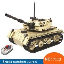Winner 7113 759pcs Technic Military Remote Control font b RC b font Tank Electric Building Blocks