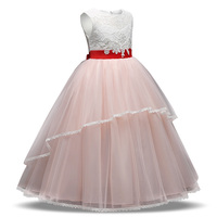 New Flower Girl Dress Baby Birthday Tutu Dresses For Girls Lace Baptism Outfits Pearls Kids Wedding