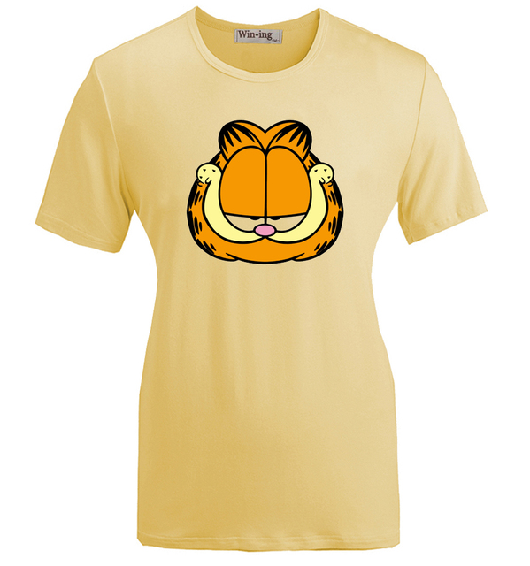 Summer Fashion Casual Cotton Round neck T shirt Cartoon Funny Grumpy Cute Garfield Graphic Women Girl Short Sleeves T-shirt Tops