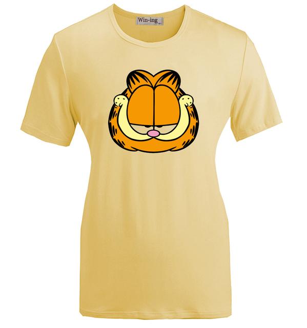 Verão Moda Casual de Algodão Em Torno do pescoço T camisa Dos Desenhos Animados Garfield Engraçado Grumpy Bonito Gráfico Da Menina Das Mulheres Mangas Curtas T-shirt Tops