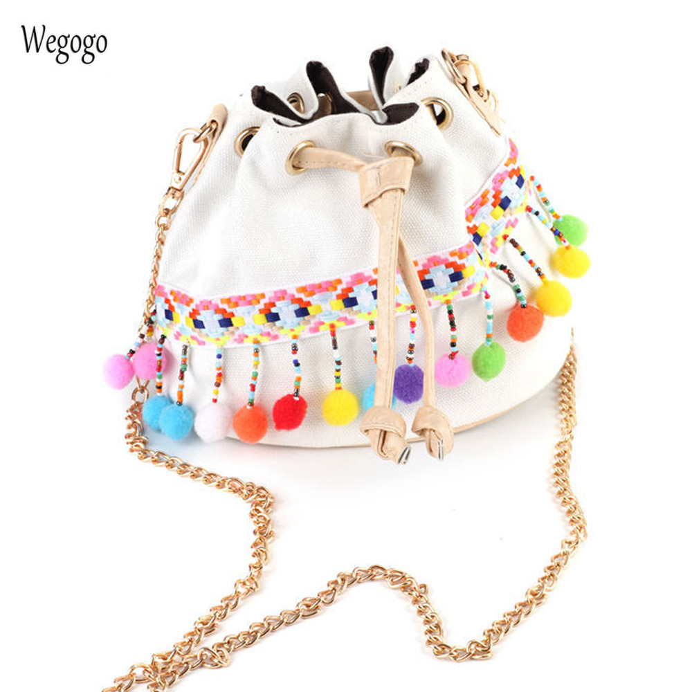 Boho Bucket Bag Canvas Retro Embroidery Bags National Mini Shoulder Bags With Chain Drawstring Small Cross Body Bags
