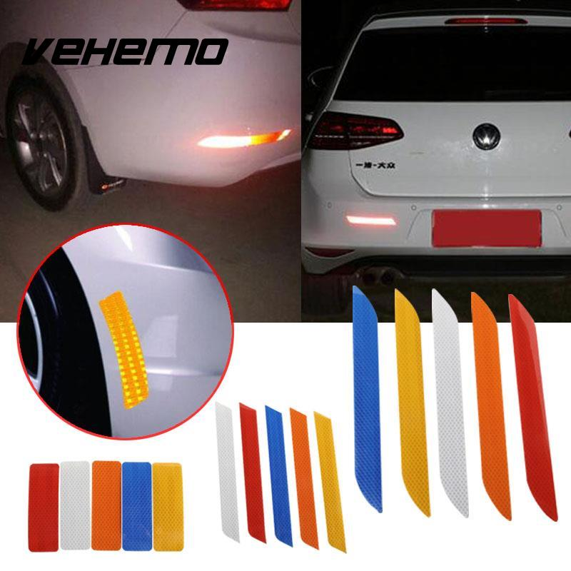 Vehemo 2Pcs 27.5X3cm Reflective Warning Strip Tape Car Bumper Reflective Strips Secure Reflector Stickers Decals Car Styling racing middle size resident evil decals bumper stickers for car