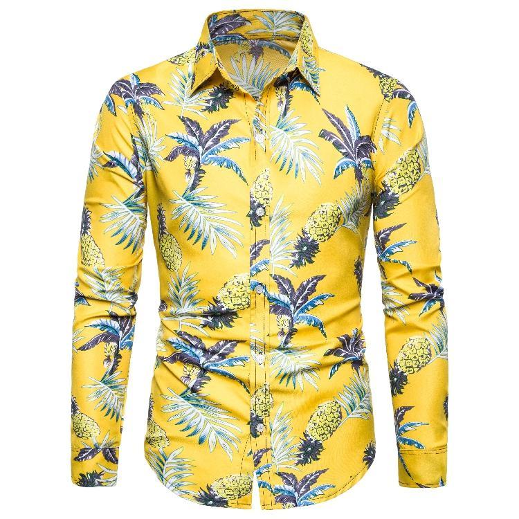 Hawaiian Style Floral Mens Dress Shirts Long-sleeved Shirt For Men Leisure Beach Blouse Men New Yellow