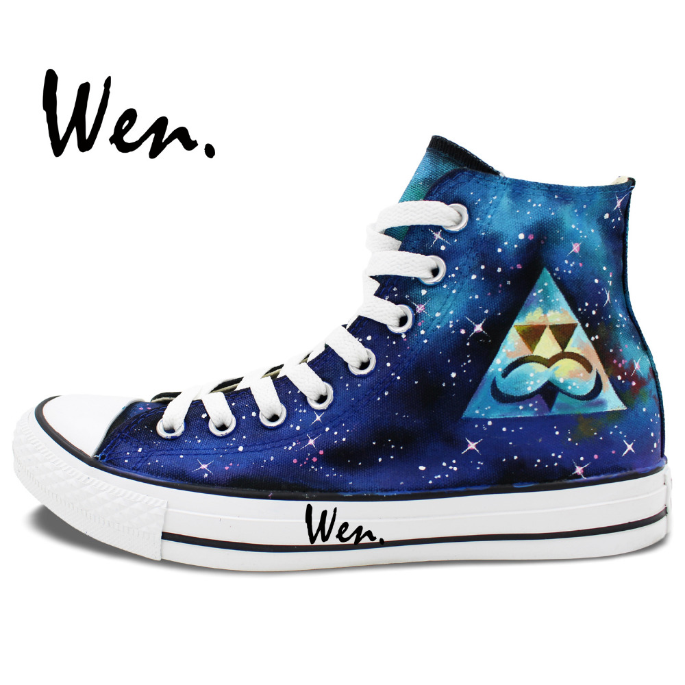 ФОТО Wen Original Shoes Design Custom Hand Painted Sneakers Triangle Blue Galaxy Men Women's High Top Canvas Sneakers