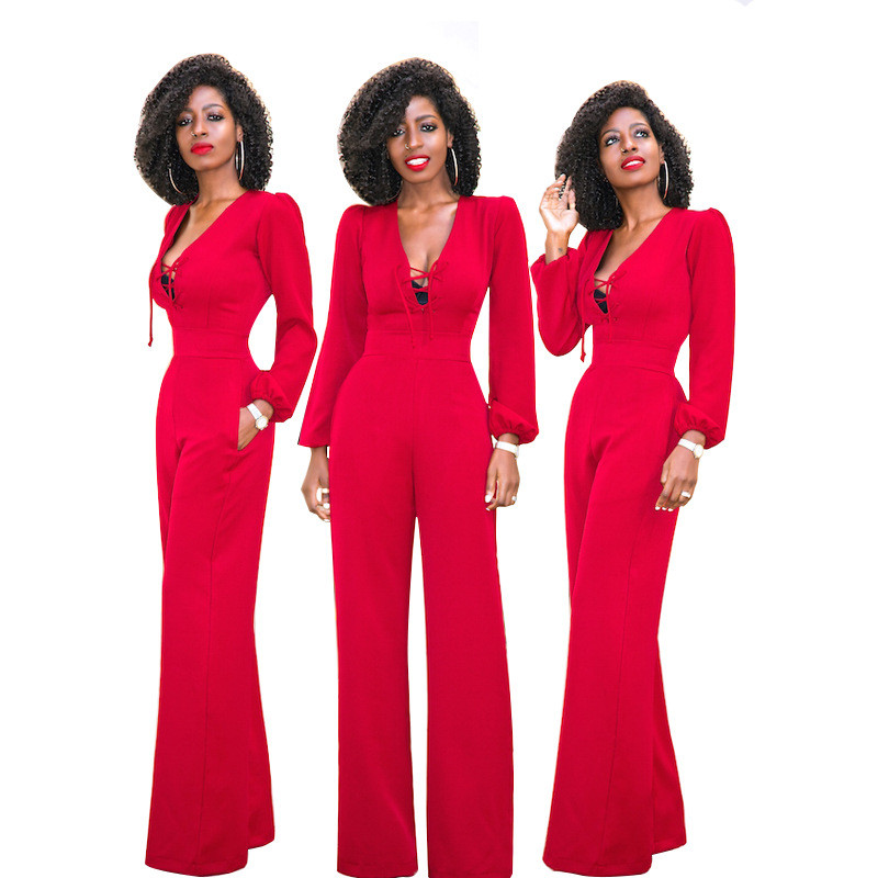 c6605eb29eb Lace up Wide Leg Jumpsuit Women Long Sleeve Loose Red One Piece Overalls  Elegant Formal Jumpsuits Long Pants Romper 2018 Outfits-in Jumpsuits from  Women s ...