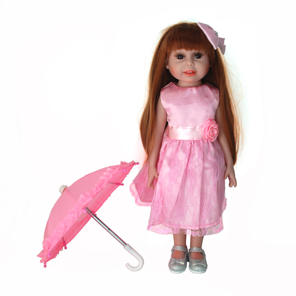 NicoSeeWonder 18 Inch Bonecas Bebe Reborn Baby Dolls Full Silicone Reborn Toddler Toys Girl With Pink Dress Kit For Gift free shipping baby toys wooden kitchen toys set girl s pink toddler kitchen with accessories gift toys