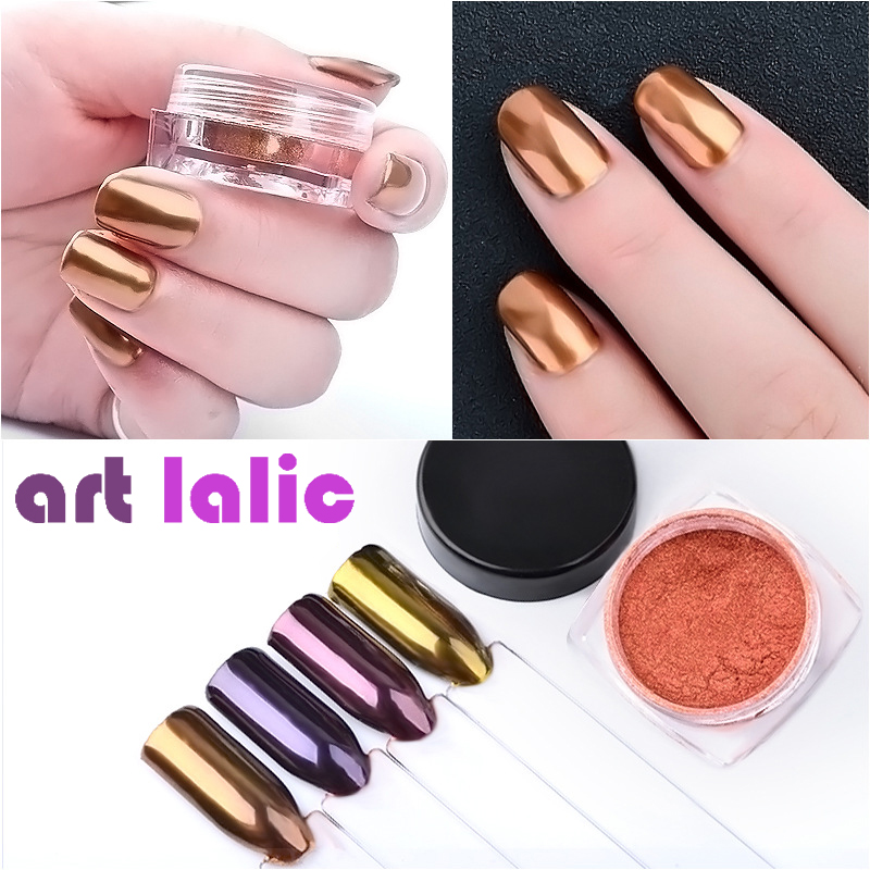 2g/Box Shinning Rose Gold Purple Copper Nail Mirror Powder
