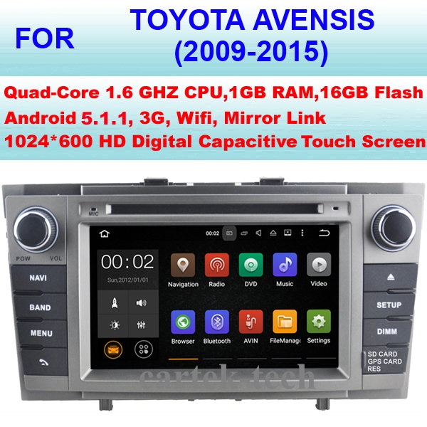 Quad Core Android 5.1 Car Radio GPS For Toyota Avensis Car DVD Player (2009-2015)Stereo Audio WiFi 3G Mirror Link Pixel 1024*600