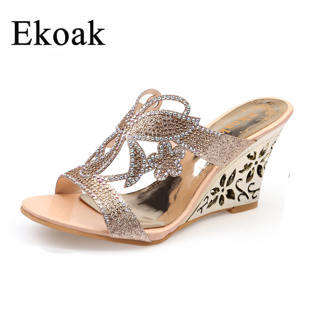 970f20973d87 Ekoak New 2018 Fashion Summer Party Shoes Woman Rhinestone Cut-outs Wedges  Sandals Ladies Floral Sexy Open Toe sandals