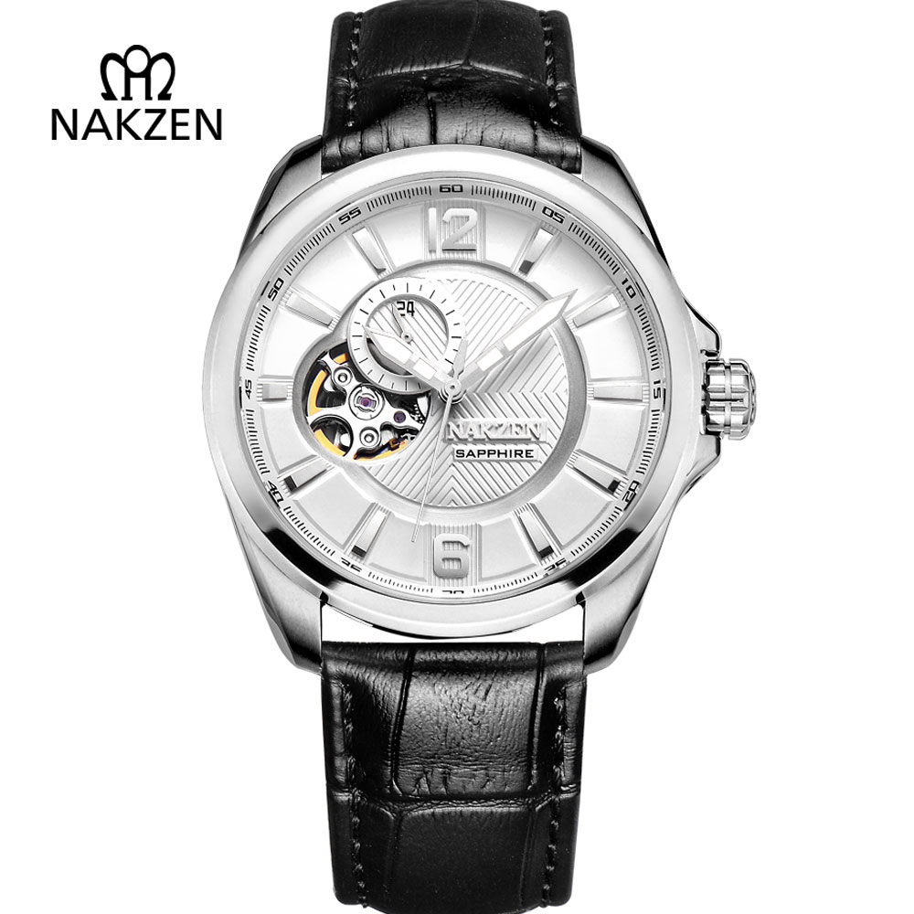NAKZEN Mens Skeleton Automatic Watch Man Leather Strap Mechanical Clock Gents Fashion Sapphire Tourbillon Waterproof 50M Watches nakzen men s automatic waterproof 50m watch man steel business dress mechanical clock male luxury sapphire diamond fashion watch