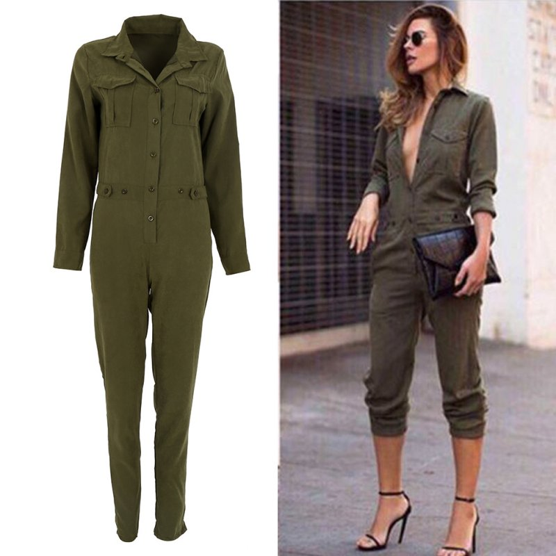 Women Solid Jumpsuit Sexy Bodycon Party Lapel Long Sleeved Playsuit