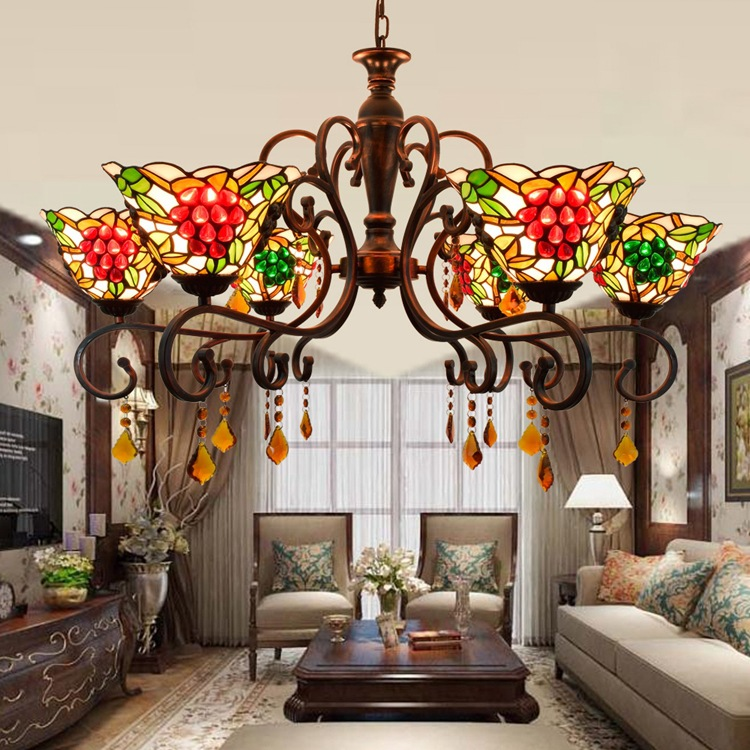 European Style Chandelier Pastoral Grape Living Room Lamp Tiffany Stained Glass Dining Restaurant LED Crystal Lighting