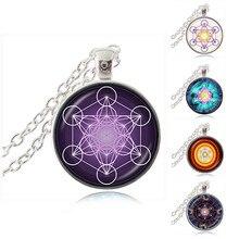 Metatron Cube Pendant Necklace Sacred Geometry Flower of Life Jewelry Chakra Spiritual Necklace Women Magic Hexagram Choker HZ1