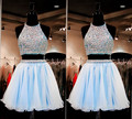 Free Shipping Two Pieces Crystal Short Cocktail Dresses 2016 Light Blue Chiffon Summer Dresses Sexy sleeveless Short Prom Gowns