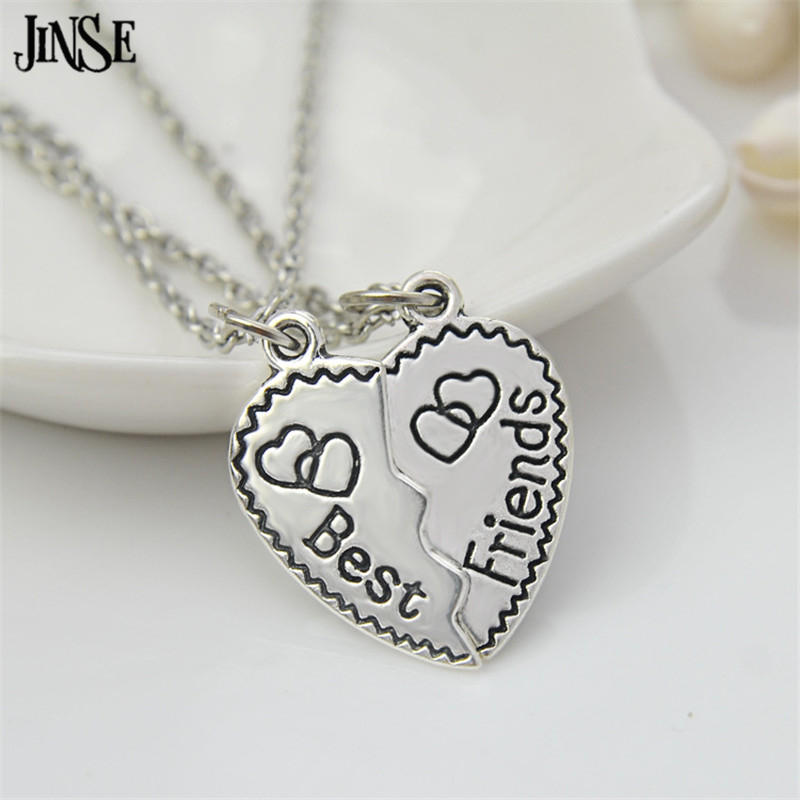 JINSE Heart Best Friend Forever Double Broken Heart Pendant Necklace Friendship Silver Plated Chain Necklaces Jewelry BLS189