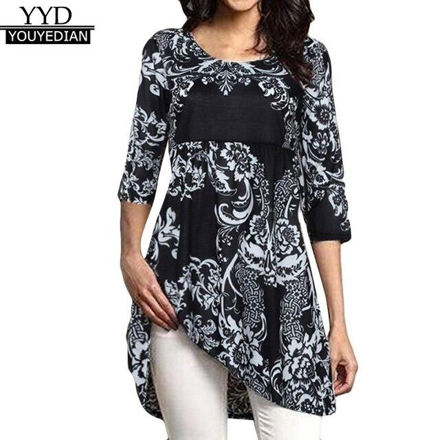 Плюс размеры 5XL для женщин s Топы и блузки для малышек 2018 Туника цветочный принт Половина рукава Топ Винтаж повседневное длинные футболк