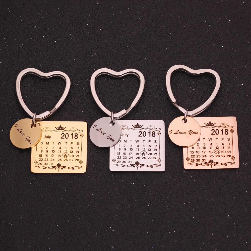 ภาพบุคคลปฏิทิน Keychain ของขวัญที่กำหนดเองแกะสลักวันที่ชื่อสแตนเลสพวงกุญแจการสำเร็จการศึกษาครบรอบ Birthdady