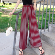 Jielur Summer Striped Trousers Women Wide Leg Hipster Young Leisure Ladies Lace-up Pants Chic Streetwear Casual Cool Pantalon