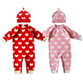 Free Shipping Autumn New Comfortable Cotton Line Baby Hooded Leotard Romper Suits Love Jacquard Patterns