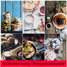 両面木の質感写真写真撮影の背景紙 & ガーゼ & フォークスプーンスタジオ写真撮影用食品の装飾アイテム