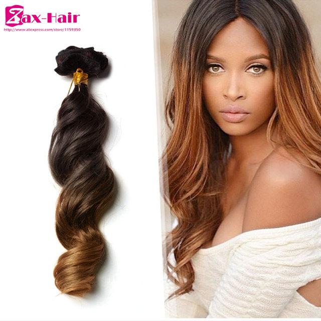 Grampo em extensões de cabelo humano Dois tons de grampo no cabelo extensões para as mulheres negras Brasileiras virgens do cabelo humano Grampo-Ins 7 pcs/10 pcs