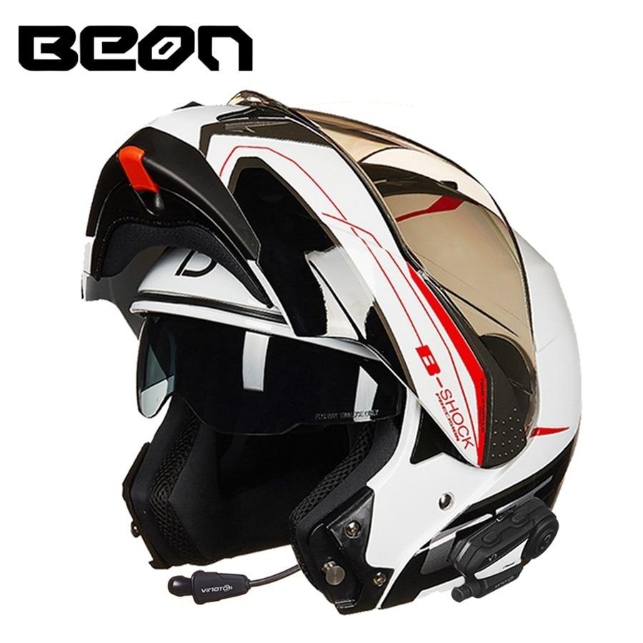 Il trasporto libero 1 pz moto da Strada Moto Casco Bluetooth Doppia Visiera Flip Up Corse di Motocross Dot Pieno Facciale Caschi Moto