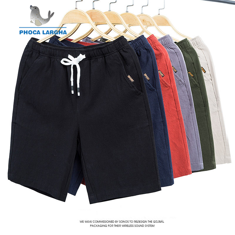 2019 New Linen Shorts Men Summer Elastic Waist Short Pants Casual Cotton Joggers Brand Flax Shorts Male Beach Linen Short