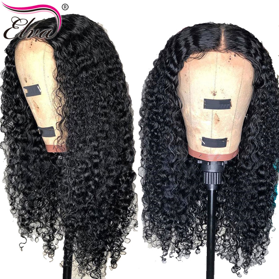 Elva 13x6 Lace Front Human Hair Wigs For Black Women 150 Density Brazilian Curly Lace Wigs With Baby Hair Pre Plucked Remy Hair