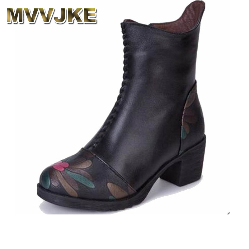 MVVJKE 2018 Genuine Leather Shoes Women Ankle Boots Autumn Thick High Heel Martin Boots Zip Winter Handmade Leather Shoes Boot цены онлайн