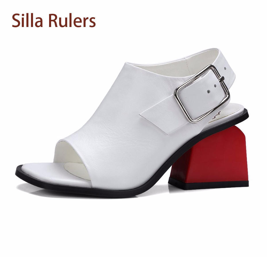 Silla Rulers 2018 Fashion Mixed Color Chunky High Heel Women Sandal Ankle Strap Genuine Leahter Square Peep Toe Casual Lady Shoe stylesowner elegant lady pumps sandal shoe sheepskin leather diamond buckle ankle strap summer women sandal shoe