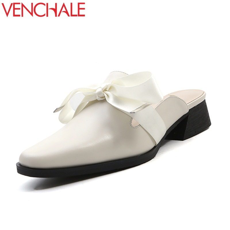 VENCHALE 2018 new genuine leather butterfly-knot med square heel three colors large size outside casual women mules shoes venchale 2018 new med square heel cow