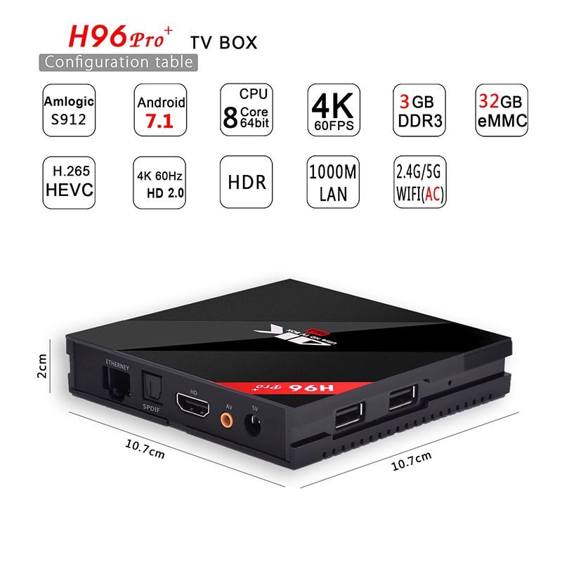 H96 Pro plus android tv box 7.1 3G 32G 4K HD WiFi Smart iptv box Media Player support iptv Europe 1 Year Arabic French Belgium iptv evpad pro