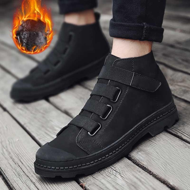 Ramialali Echtem Leder Männer Stiefeletten Atmungs Martin Stiefel Mann Leder  High Top Schuhe Outdoor Casual Schuhe Botas Homme in Ramialali Echtem Leder  ... 1f4f519cb1