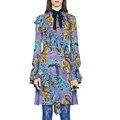 Runway designer dress alta qualidade 2017 primavera verão mulheres manga comprida fique collar impresso dress sad317