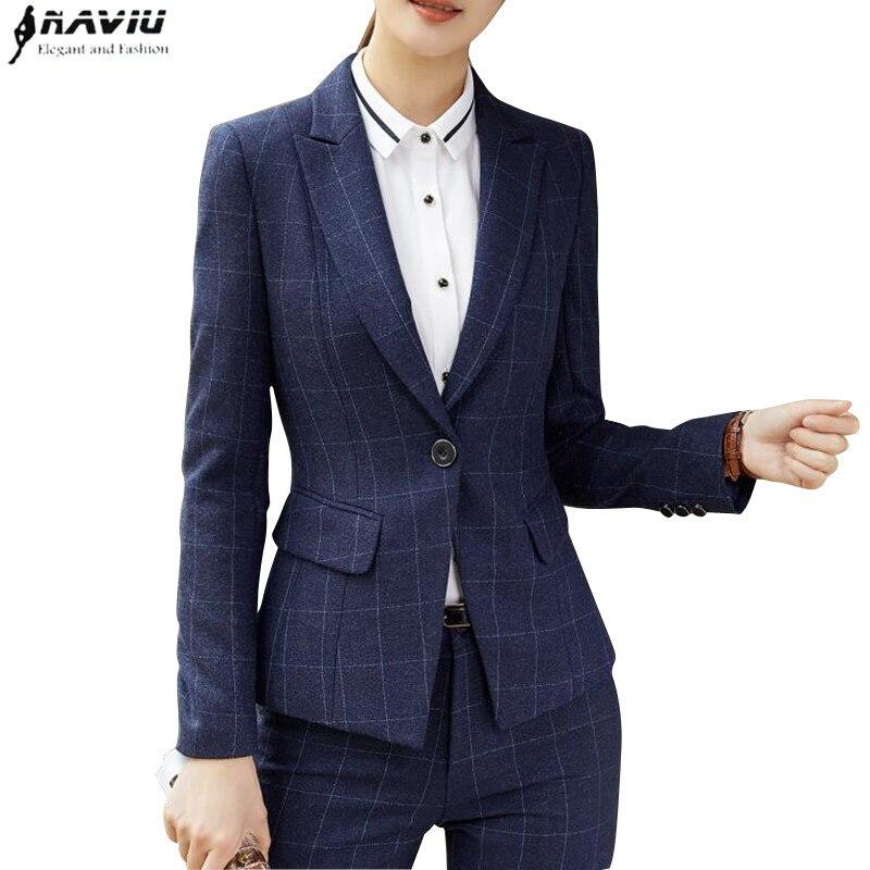 Naviu mode vrouwen tweedelige outfits formele Bedrijvengids lange mouwen slim blazer en broek office dames plus size werkkleding-in Broekpak van Dames Kleding op  Groep 1