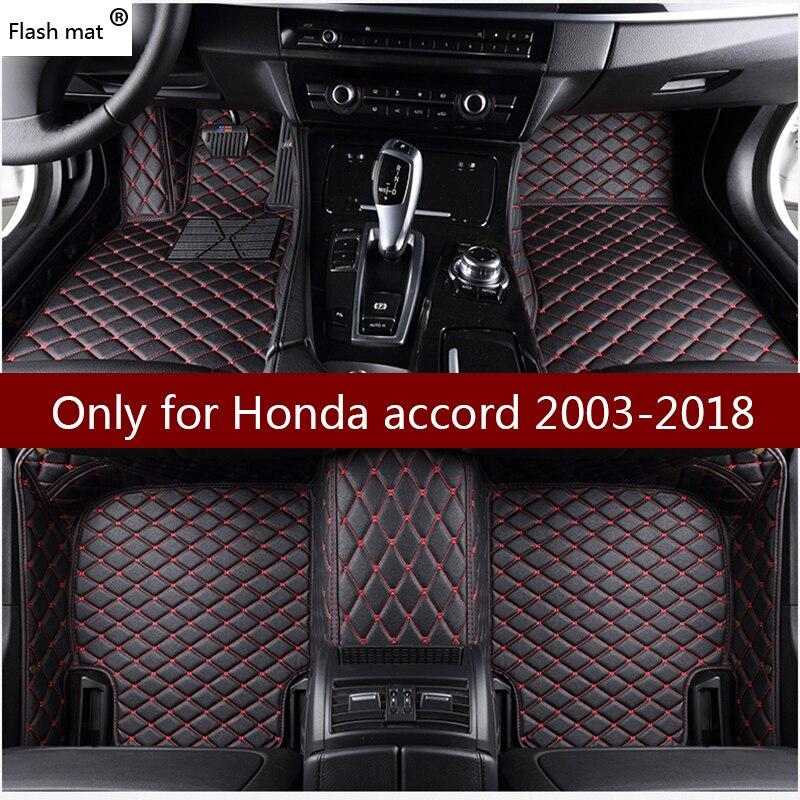 Flash tapis tapis de sol de voiture en cuir pour Honda accord 2003 2004-2015 2016 2017 2018 Personnalisé pied Tapis automobile tapis de voiture couvre