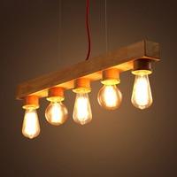 E27 Edison Bulb Native Wood Handmade Wooden Chandelier 5 Lights European Vintage Hanging Lamp Living Room Dining Lighting PL550