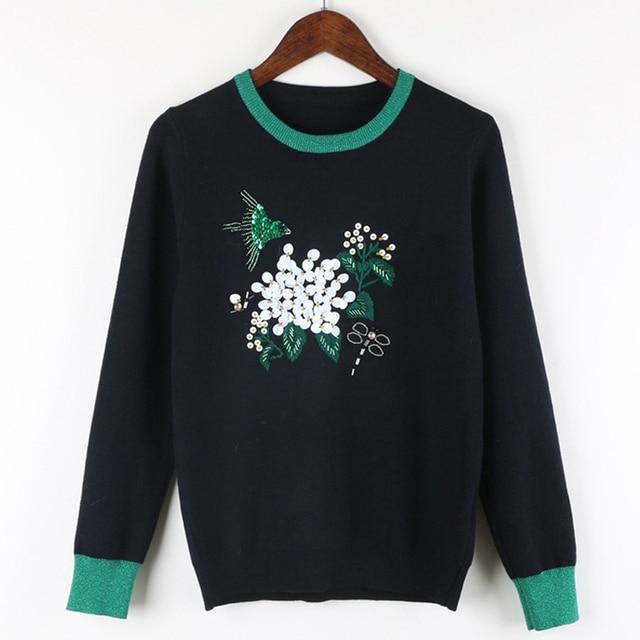 Осень-Зима Европейских и Американских Роскошных Дизайн Бисером Птица Блестками Цветочные Свитер женщин Вышивка Листьев Трикотажные Топы SY888