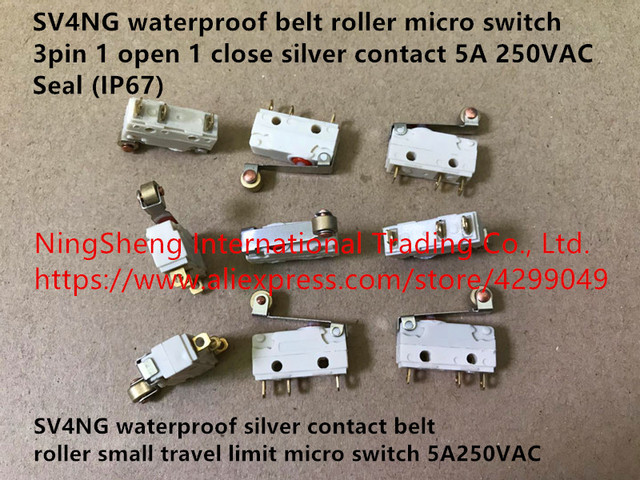 Original new 100% SV4NG waterproof silver contact belt roller small travel limit micro switch 5A250VAC