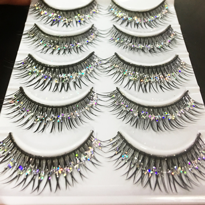 YOKPN Handmade False Eyelashes Silver Glitter Thick Fake Eyelashes Beauty Makeup Stage Performance Latin Lashes 5 Pairs1 Box