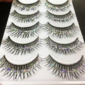 YOKPN Handmade False Eyelashes Silver Glitter Thick Fake Eyelashes Beauty Makeup Stage Performance Latin Lashes 5 Pairs1 Box(China)