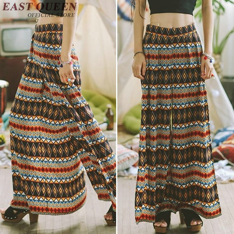 Nouveau 2018 Pantalon Jambe Côté Long Floral Taille Haute Summer Large Imprimé Yq Plage Boho Vintage 1 Split Ethnique De Kk830 dpqEqw