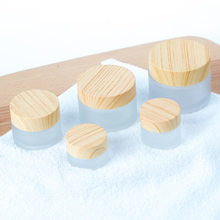 5g 10g 15g 30g 50g Frosted Glass Cream Jar with Wood Lid Makeup Skin Care Lotion Pot Cosmetic Container Packaging Bottles 10pcs(China)